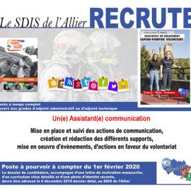 Le SDIS de l'Allier recrute pour son service communication